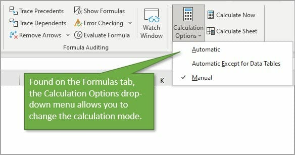 Calculation Options Manual or Automatic Calc Mode.