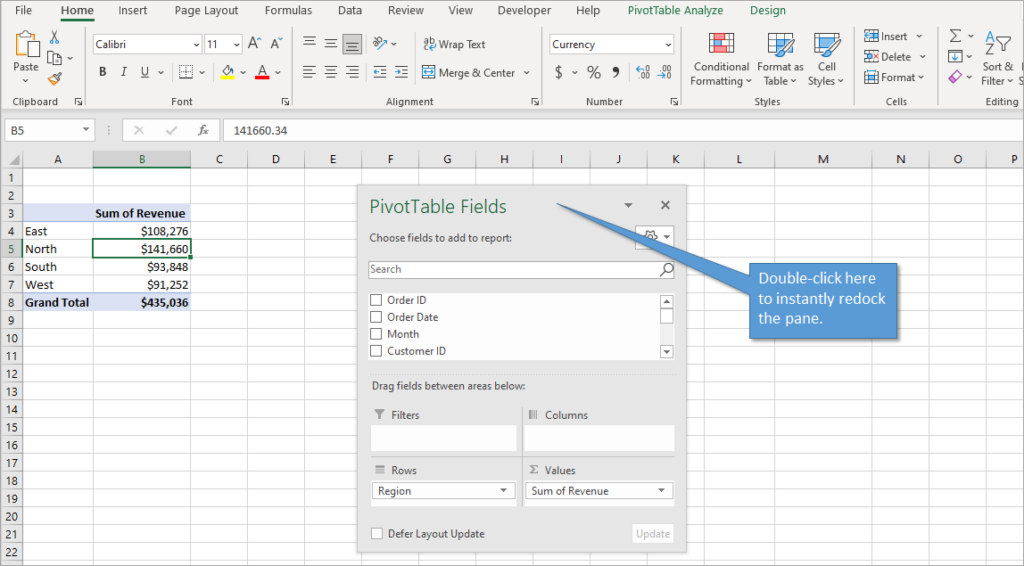 Floating Pivot Table Fields task pane