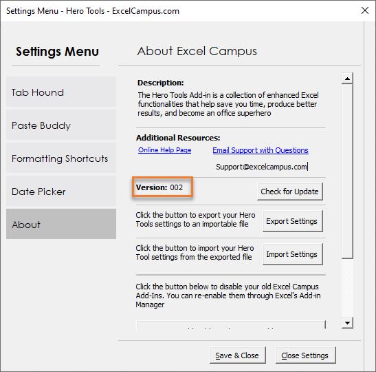 Hero Tools - Settings Menu Version 002