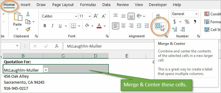 Merge and center to widen dropdown list.