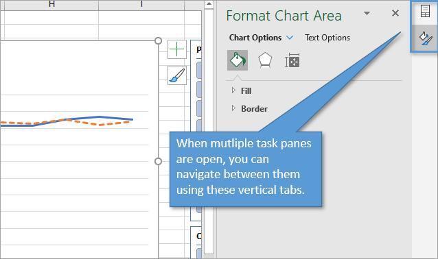 Navigate between task panes using vertical tabs