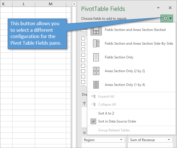 Pivot table fields task pane configuration can be changed with the setting button