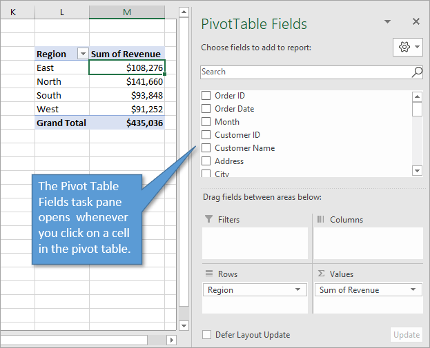 Pivot table fields list opens when you click on a cell in the pivot table