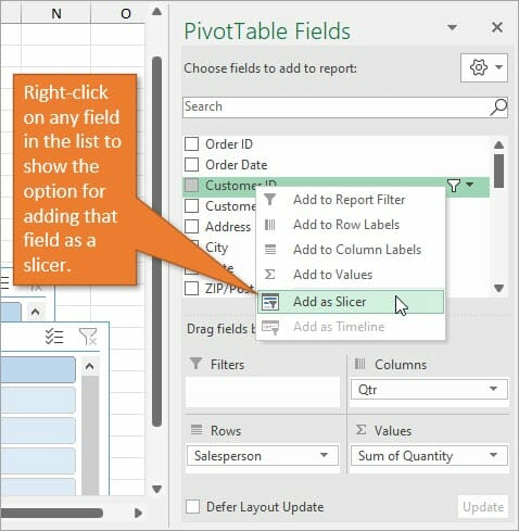 Add slicer by right clicking in the fields list