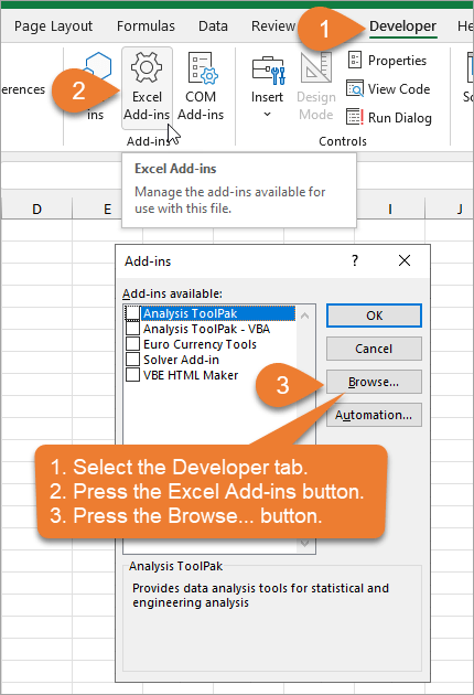 Browse for File from the Excel Add-ins window - Hero Tools Installation
