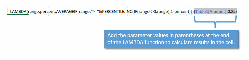 Add parameters after the lambda function