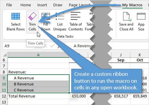 Custom Excel Ribbon Button for Trim Macro VBA