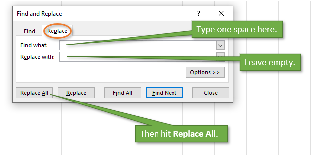 Find and Replace all spaces