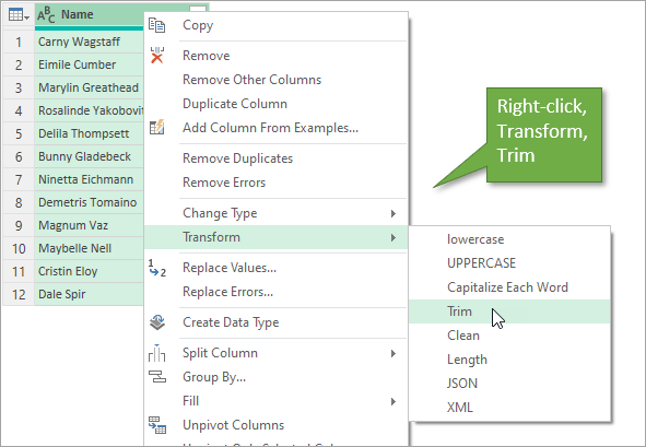 Right click transform trim in power query