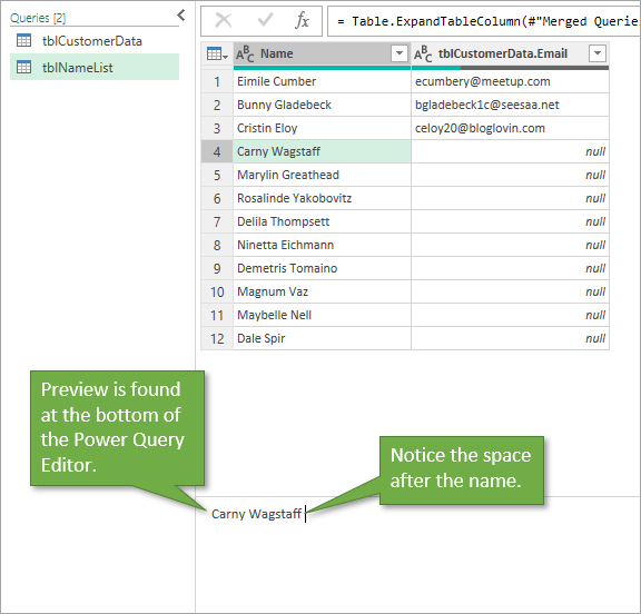 Space after name shown in preview of power query editor