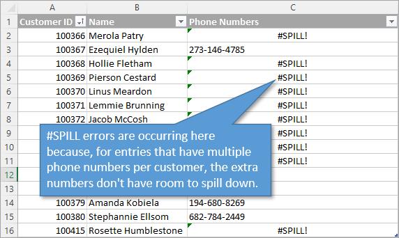 Spill Error Reason