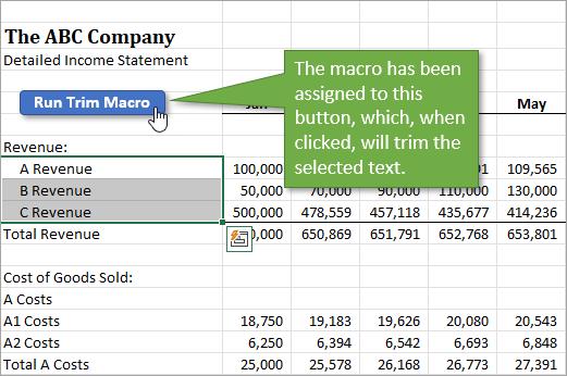 Trim Macro Button on Worksheet