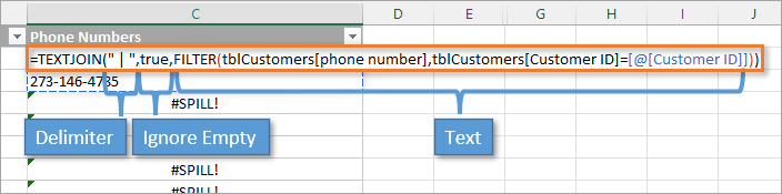 TEXTJOIN Formula with Arguments identified