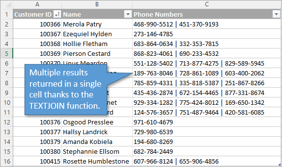 TEXTJOIN RESULTS